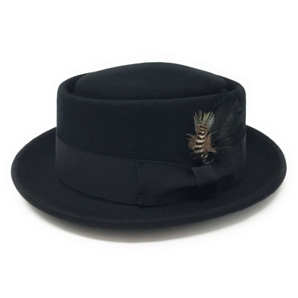 Black Pork Pie Hat Wool Felt